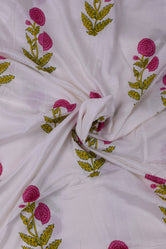Maroon Flower Printed Rayon Fabric