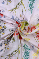 Cream Leaf Print Screen Cotton Printed Fabric
