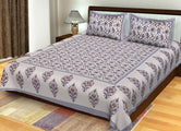 Cream Flower Print King Size Cotton Bed Sheet