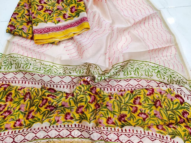 Pink & Yellow Flower Print Chanderi Silk Unstitched Suit Set with Chanderi Silk Dupatta