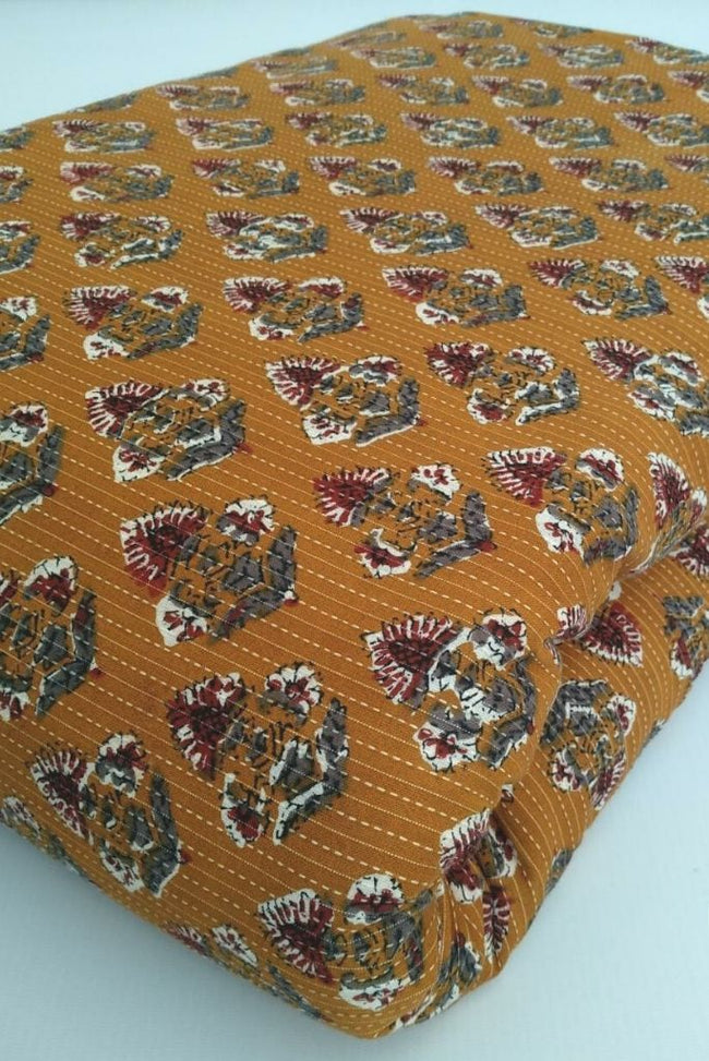 Brown Flower Print Cotton Fabric