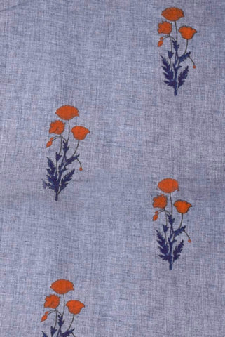 Grey Brown Flower Mughal Cotton Fabric