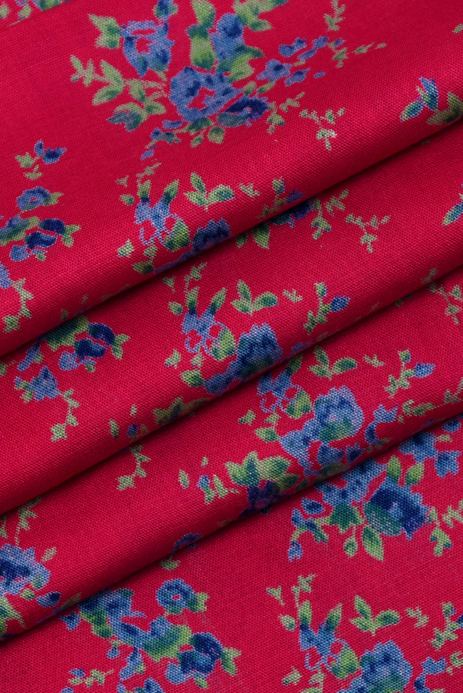 Pink Floral Printed Rayon Fabric