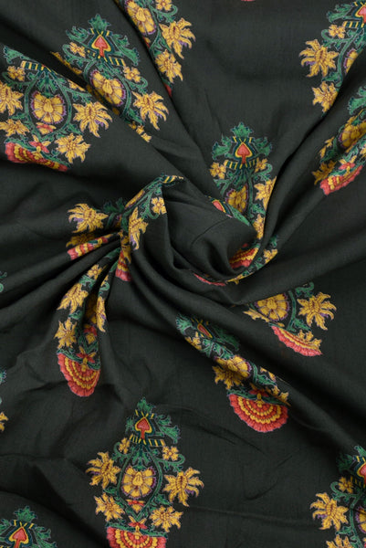 Dark Green Flower Print Screen Cotton Printed Fabric
