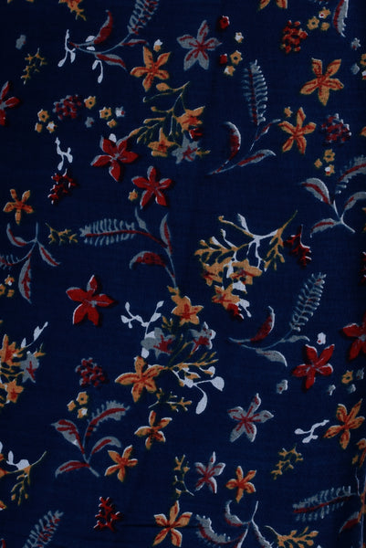 Navy Blue Floral Printed Rayon Fabric