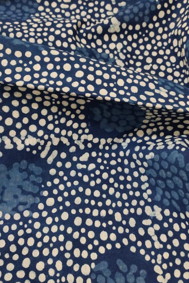 Catalina Blue & Bizarre Orange Indigo Print Fabric