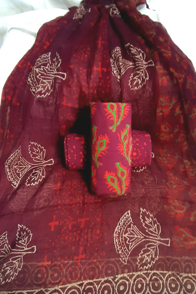 Maroon Leaf Print Unstitched Suit with Chiffon Dupatta