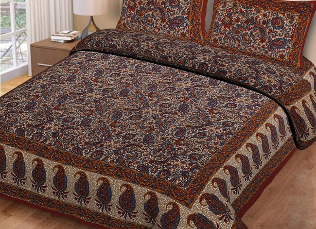 Brown Butta Print King Size Cotton Bed Sheet