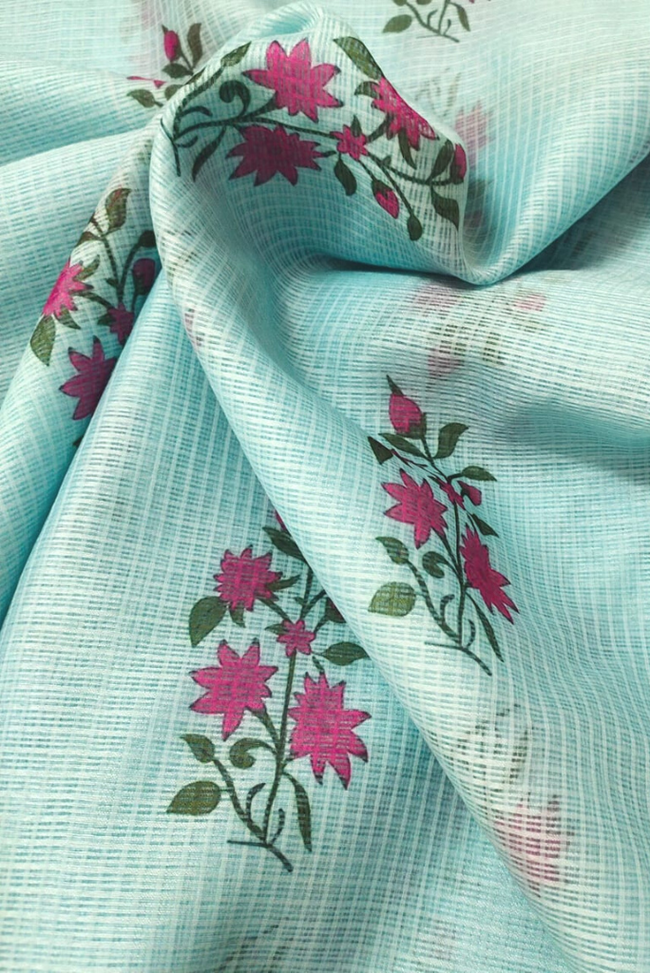 Light Blue Flower Print Kota Doria Fabric