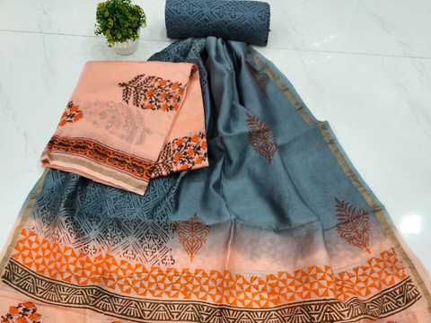 Peach & Grey Flower Print Chanderi Silk Unstitched Suit Set with Chanderi Silk Dupatta