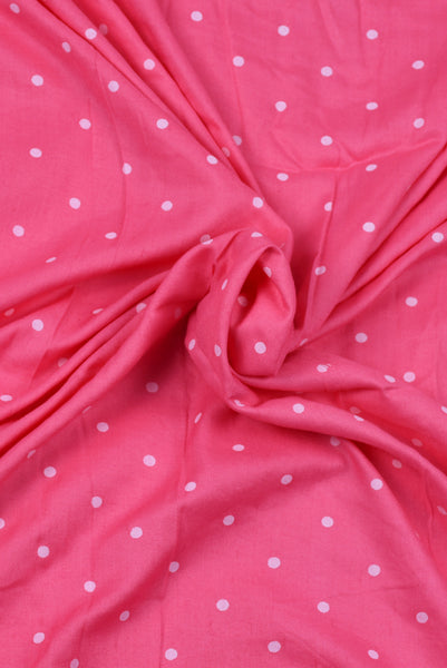 Pink Dotted Royon Fabric
