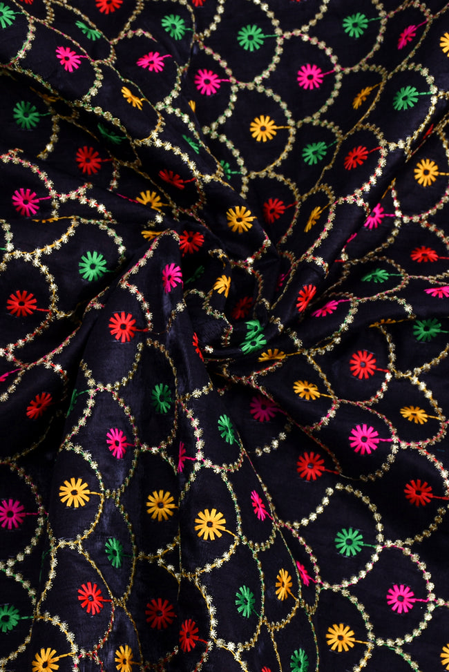 Black Flower Print Embroidery Fabric