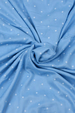 Sky Blue Dotted Rayon Fabric