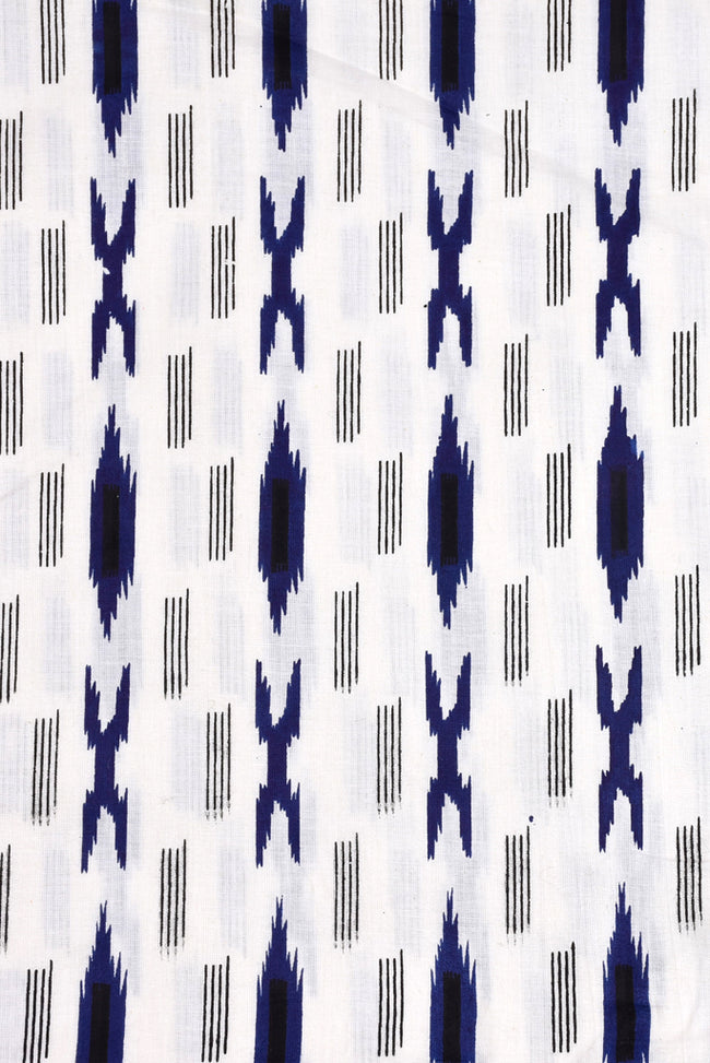 White & Blue Lining Printed Ikat Fabric