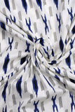 White Lining Printed Cotton Screen Print Fabric