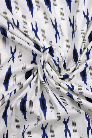 White & Blue Hand Weaved Ikat Fabric