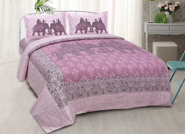 Pink Elephant Print King Size Cotton Bed Sheet