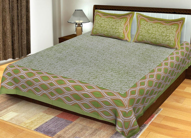 Green Abstract Print King Size Cotton Bed Sheet