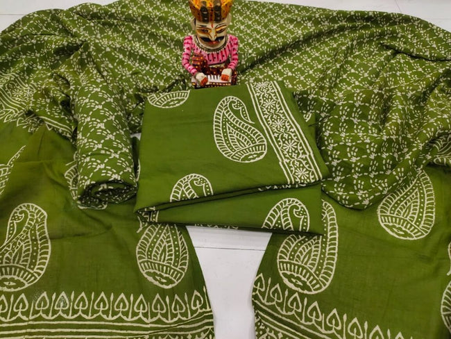 Green Butta Print Cotton Suit Set with Cotton Duppatta