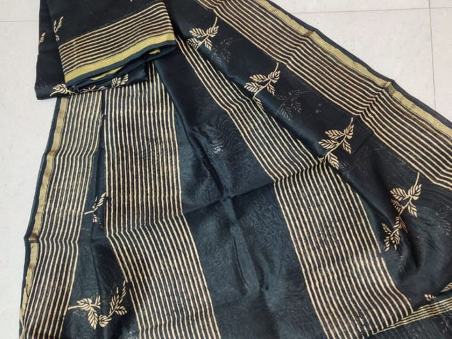 Black Leaf Print Chanderi Silk Unstitched Suit Set with Chanderi Silk Dupatta