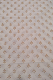 White  Gold Butti Print Cotton Fabric