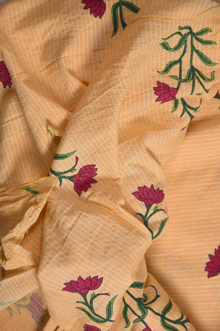 Light Mango katha Mughal Printed Cotton Fabric