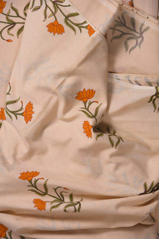 Peach Mughal Printed Cotton Fabric