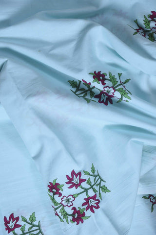 Sky Blue Mughal  Cotton Printed Fabric