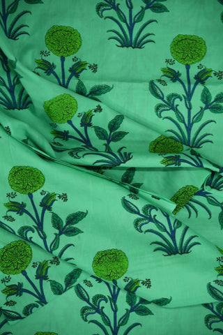 Light Green Flower Mughal Printed Cotton Fabric