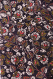 Black with White Pink Green  Flower Print Kalamkari Cotton Fabric