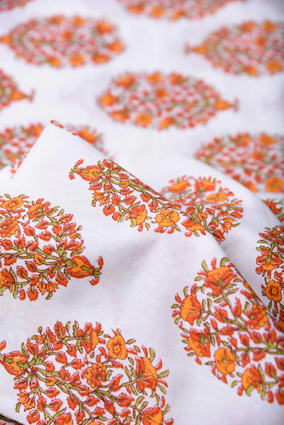 Orange Flower Pattern Mughal Printed Cotton Fabric