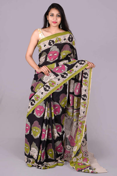 Black Multicolor Buddha Printed  with  Multicolor Peacock Printed Blouse Cotton Kalamkari Saree