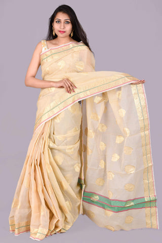 Cream with Gold Block Kota Doria Saree