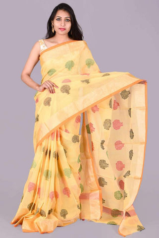 Yellow with Tree Print Embroidery Kota Doria Saree
