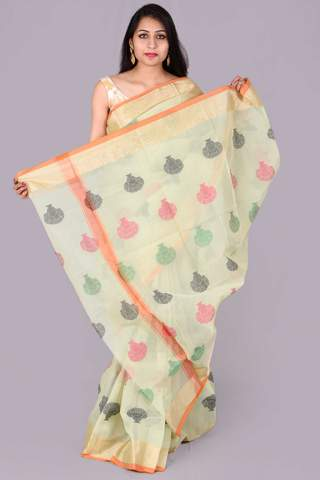 Light Green with Tree Print Embroidery Kota Doria Saree