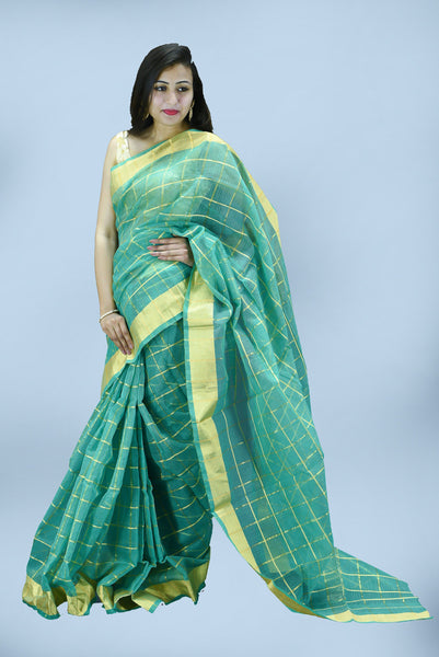 Teal with Lining Embroidery Kota Doria Saree