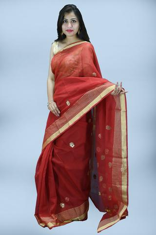 Red Gota patti Print Kota Doria Saree