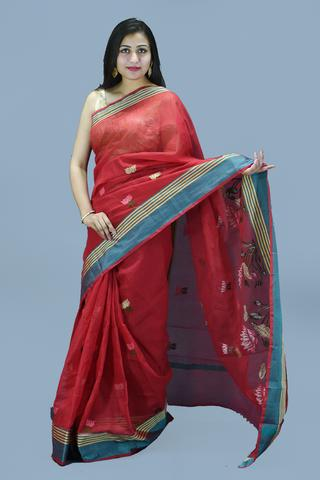 Red with Flower Print Embroidery Kota Doria Saree