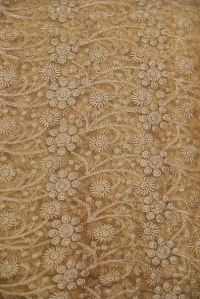 Brown Net Embroidery Fabric