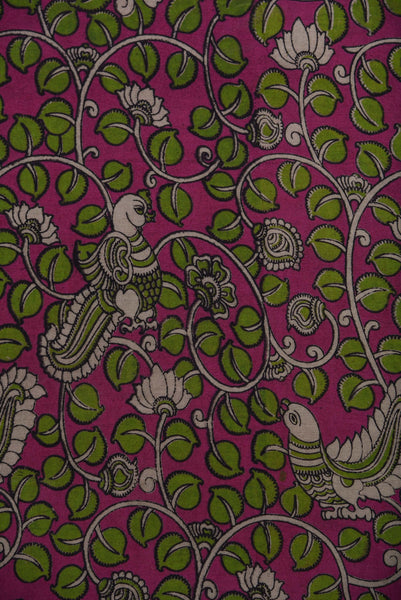 Flower & Duck Print Kalamkari Cotton Fabric