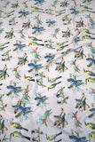 Light Pink Parrot Printed Digital Crepe Fabric