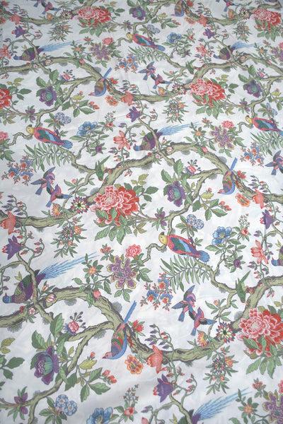 White Floral & Peacock Printed Digital Crepe Fabric