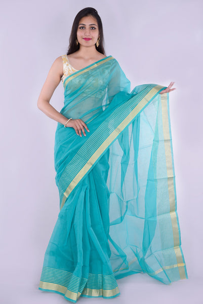 Light Blue with Golden Border Kota Doria Saree
