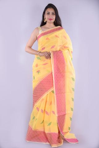 Yellow with Leaf Printed Embroidery Kota Doria Saree