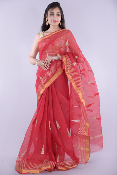 Rani Color with Leaf Printed Embroidery Kota Doria Saree