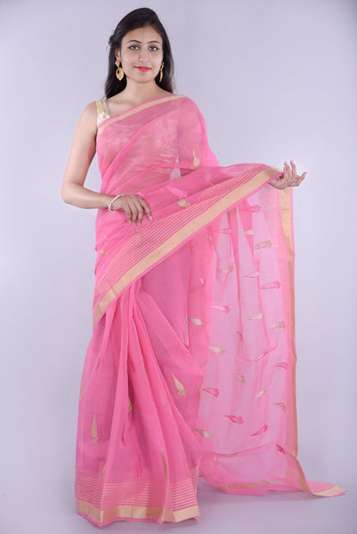 Light Pink with Leaf Printed Embroidery Kota Doria Saree