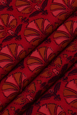 Red Flower Print Cotton Fabric