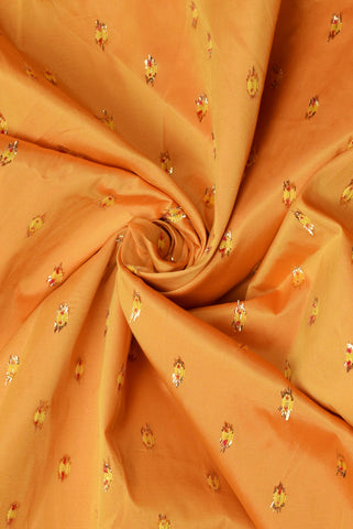 Yellow with Red Butte Silk Fabric