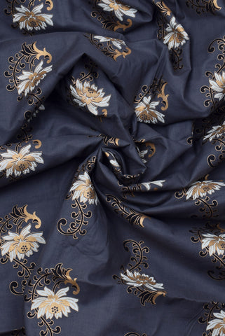 ZodiacGrey Flower Print Cotton Fabric