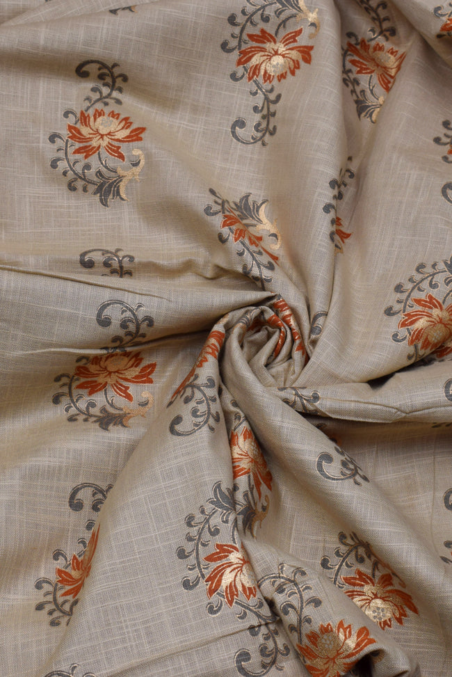 Malta Brown Flower Print Cotton Fabric